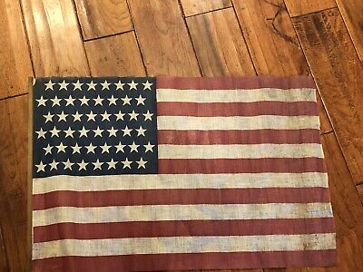 "US 48 Star American Flag RARE Staggered Pattern  26"" x 17"""