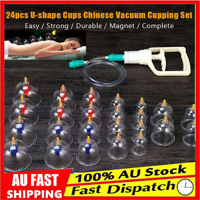 24 Cups Vacuum Cupping Set Massage Acupuncture Suction Massager Kit AU Ship