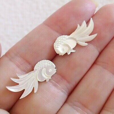 Vintage Carved White Mother of Pearl MOP Shell Small Goldfish Fish Post Earrings