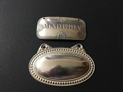 2 Antique English London Sterling Silver Bottle Tags Labels 1-Madeira 1-Blank