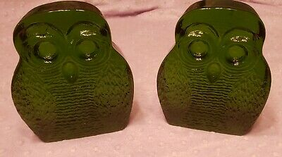 BLENKO Art Glass Emerald Green Glass Owl Bookend Set 1960 Joel Myers Designer