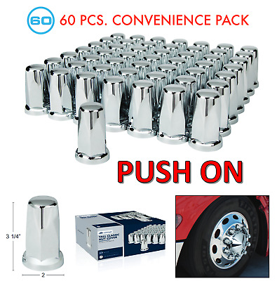 "(Set/60) Chrome Lug Nut Covers 33mm Push-On (3-1/4"" Tall) 60-Pack"