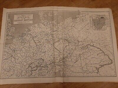 Antique Historical Map Empire Of Austria  And German Empire 1873