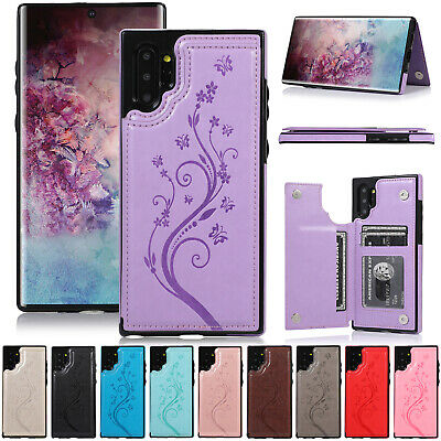 For Samsung Note 10 Plus S9 S10e S8 Cover Leather Flip Back Wallet Stand Case