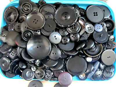Huge Mixed Lot 400 + Black Vintage Sewing Plastic Buttons Over 1 Pound