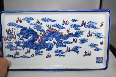 Blue and white Porcelain Hand-Painted Dragon Plate Tea Tray w Qianlong Mark
