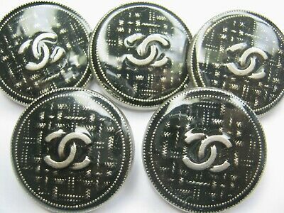 Chanel  5 buttons sz 25mm lot of 5  gray silver CC LOGO