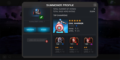 MCOC Account 5* STAR Level 1 Starter Account Marvel Contest of Champions Account