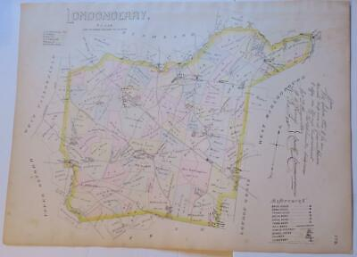 1883 Breou's Londonderry Township,Chester County Colord Map,Roads,Turnpike,Ownrs