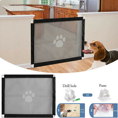 Retractable Pet Dog Gate Safety Guard Folding Baby Toddler Stair Magic