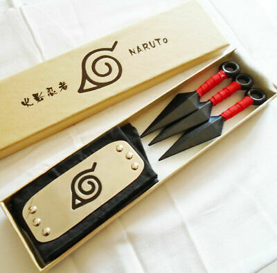 Anime Naruto Leaf Village Ninja Weapons Cosplay Toy Kunai Headband Set Props Red