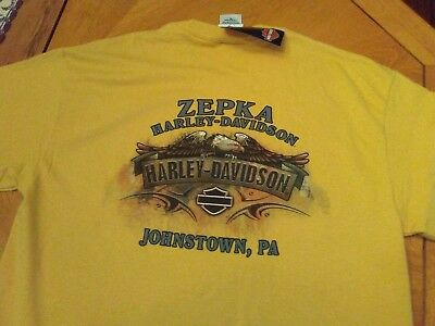 New Harley-Davidson T-Shirt Zepka Johnstown, PA Gold  M Medium Men's or Ladies