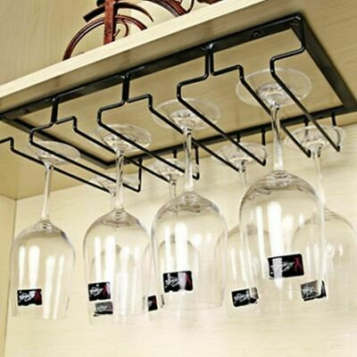 Rows Hanging Wine Cup Rack Glass Cups Holder Metal Iron Craft Steamware Decor
