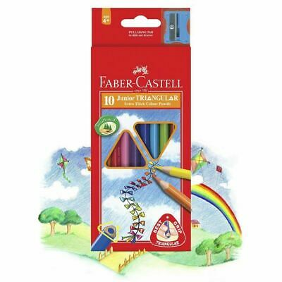NEW Faber Castell Junior Triangular Thick Colour Pencils 10 Pack  FREE Postage