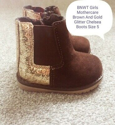 BNWT Girls Mothercare Brown And Gold Glitter Chelsea Boots Size 5