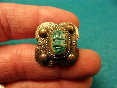 "Nice Vtg Handcrafted ""Scarab"" Style Tribal? Ring With Blue/White Glass ""Inlay"""