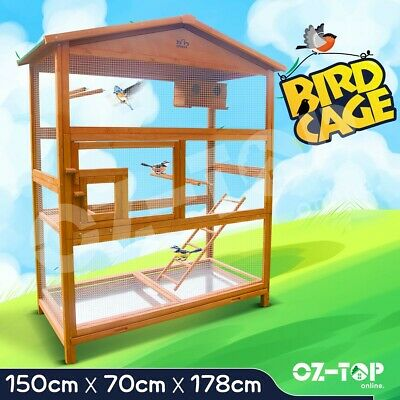 Bird Cage Wooden Pet Parrot Aviary Budgie Canary Cockatoo Perch House Large