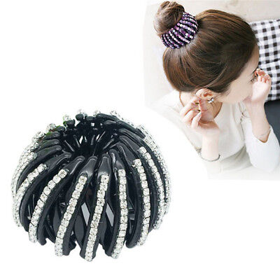 Black Round Crystal Rhinestone Hair Claw Bling Hair Clip Clamp Ponytail Holder#S
