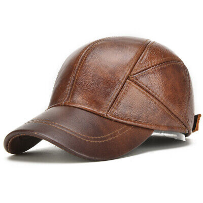 Genuine Cow Leather Baseball Cap Leather Hats For Men Winter Warm Adjustable