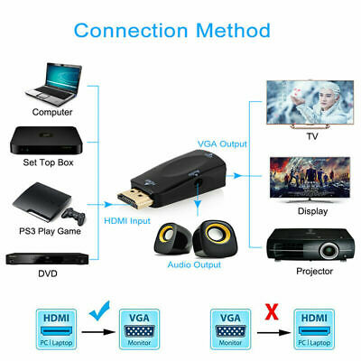 HDMI Male to VGA Female Adapter 1080P Video Converter + Audio 3.5mm Jack Output