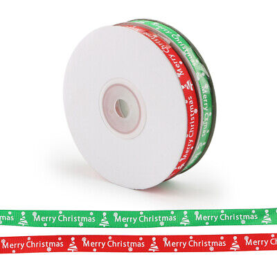 2pc 25 Yards/Roll Ribbon Happy Merry Christmas Decoration DIY Gift Wrapping UK