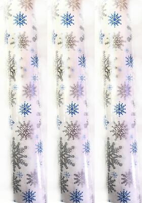 6m Christmas Gift Wrap Glitter Snowflake Rolls Wrapping Paper Roll Xmas Present