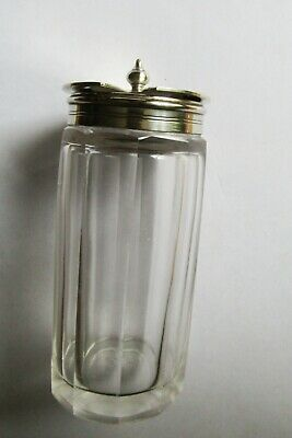 Antique Cut Glass Mustard With Silver Plated Epns Lid