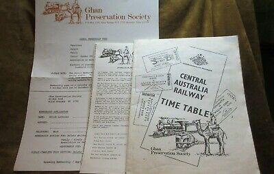 C1990s Central Australia Railway Time Table Ghan Preservation Society Membership