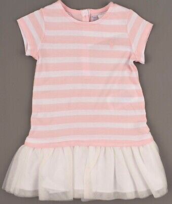 RALPH LAUREN Baby Girls' Pink Striped / White 2pc Dress Set Outfit, size 18m