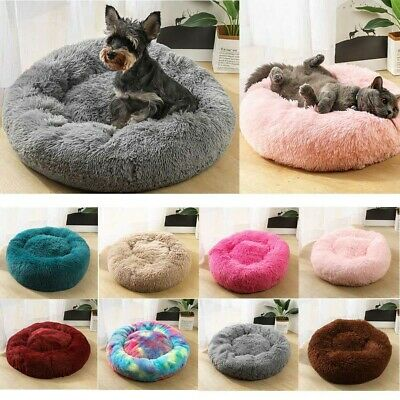 Pet Calming Bed Round Nest Soft Faux Fur Kennel Cave Cat Dog Comfy Sleeping Bed