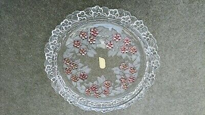 Original German Walther Glass Floral Raised Cake Stand, 1970's