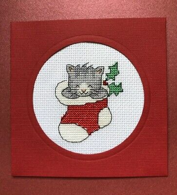 Completed Cross Stitch Cat In A Stocking Christmas  Card 5x5.inch