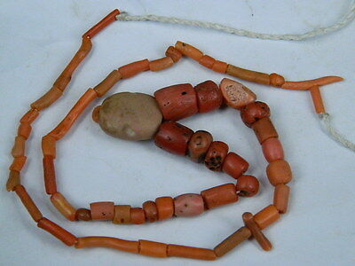 Ancient Coral Beads Strand Islamic 1200 AD  No Reserve #BE5380