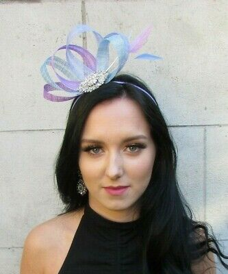 Lilac Lavender Light Blue Purple Silver Fascinator Feather Sinamay Hair 7675