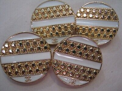 Chanel 4 cc buttons  WHITE GOLD 18mm lot of 4 good condition