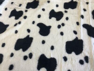SUPER Luxury MICRO Faux Fur Fabric Material - BLACK COW