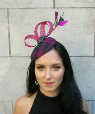 Fuchsia Pink Plum Purple Dark Green Feather Pillbox Hat Fascinator Hair 7681
