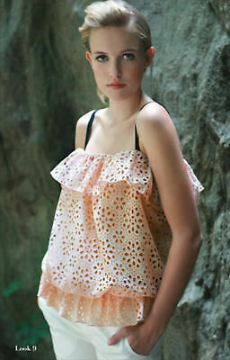 Ishii New York Womens Handmade Womens Solid Beige Lace Tank Top Size 2 Xs $270