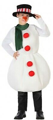 Childs Boys Girls White Winter Festive Snowman Christmas Fancy Dress Costume