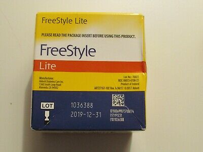 FreeStyle Lite 100 test strips, Listing is for 1 box, Expiration 12/31/2019**