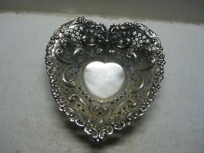 Antique Gorham Sterling Silver Footed Heart Shaped Pierced Dish Bowl No Mono