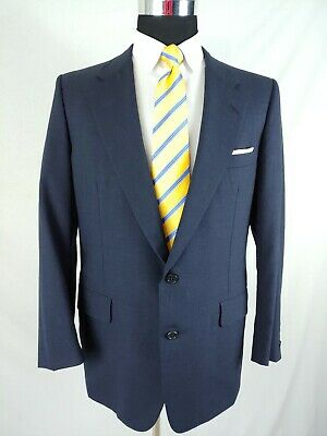 Hickey Freeman Mens Navy Blue Wool Screen Pleated 2 Piece Suit 42/43R 37x30