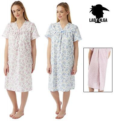Lady Olga Incontinence Open Back Poly Cotton Floral Nightdress