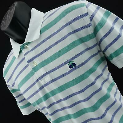 Mens Brooks Brothers Performance Slim Fit Striped Polo Golf Shirt Size Medium M