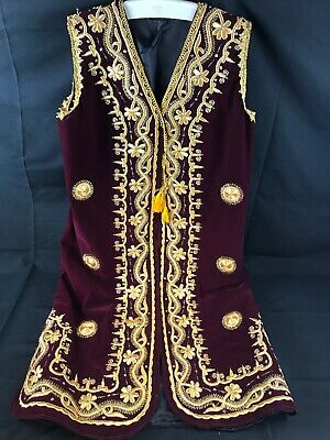 Uzbek Wedding bridal dress Gown outfit Velvet Gold Embroidery made In Ubekistan
