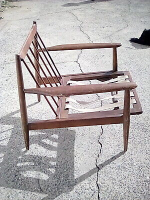 Mid Century  Vintage Danish Modern style Walnut Teak Lounge Chair