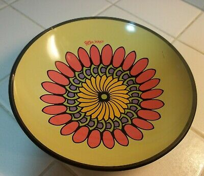 """Vintage Peter Max signed 7"""" Pop Art Glass Shallow Bowl / Dish"""