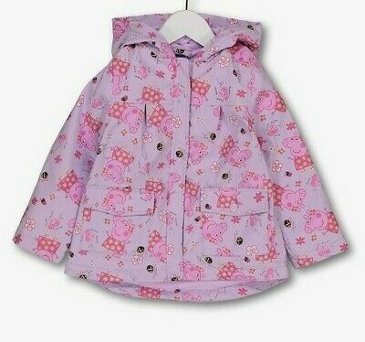 Girls Peppa Pig Fleece Lined Hooded  raincoat Ages 1.5 - 5 Yrs New