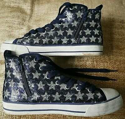 Marks & Spencers Blue & Sequin Silver Stars Hi Top Trainers Boots Uk Size 4 Eu37