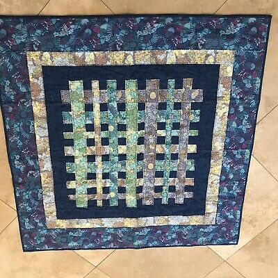 "Hand Made Baby Quilt Blue Floral Reversible 41.5"" Square"